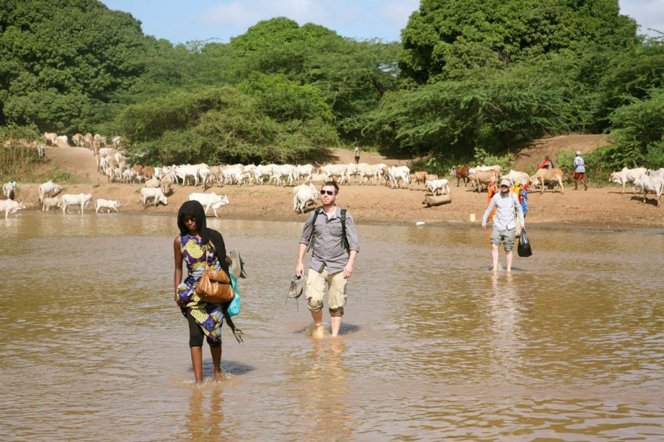 It is currently dry season in the Tana Delta and water levels are low enough for our team to wade across the Tana River.