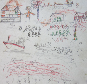 A drawing by a 9 year old boy from M Kayauk Phyu depicts military robbing Rohyinga houses at gunpoint before burning them down and chasing those who tried to escape.