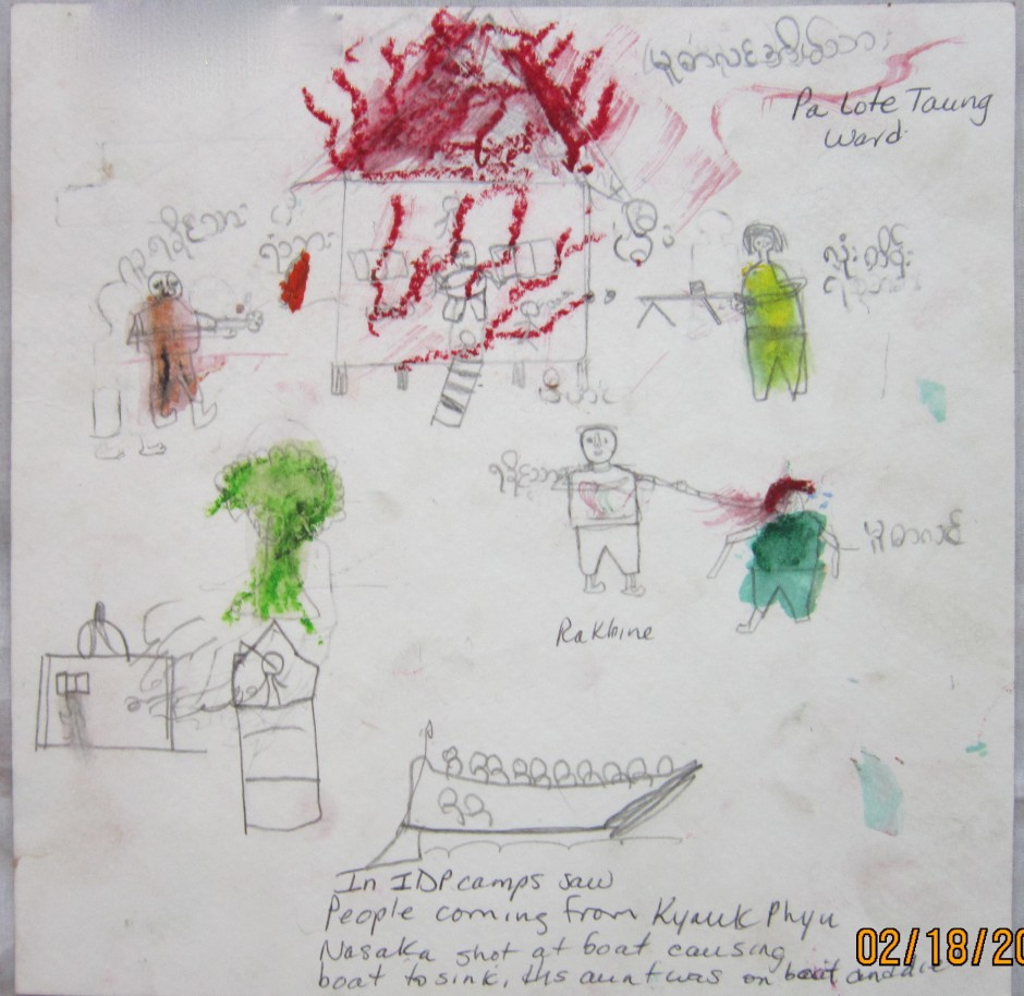 A drawing by a 12 year old boy from Pa Lote Taung Ward shows soldiers shooting at boats full of Rohingya, all of whom died.