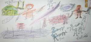 A drawing by a 13 year old boy showing Hlun Htaine (security police) shooting Muslims with machine guns.