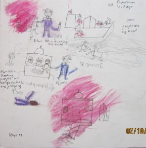 A drawing by a 10 year old boy depicts Hlun Htaine (security forces) burning the boy's house and firing into a Mosque with a machine gun.