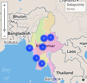 Illustration 3: ThreatWiki map showing Security Forces' abuses involving Muslims, a phenomenon widespread in Burma.