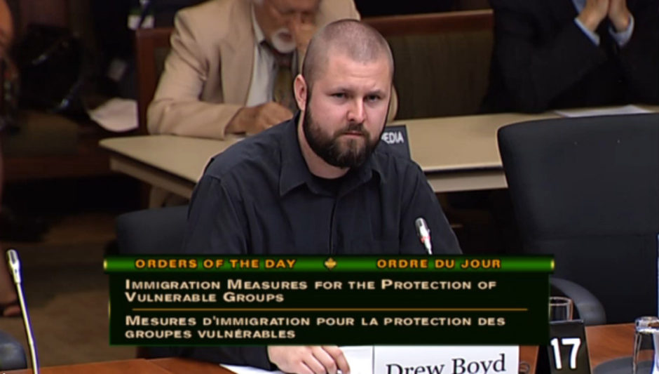 The Sentinel Project's Drew Boyd testifies to the Standing Committee on Citizenship and Immigration