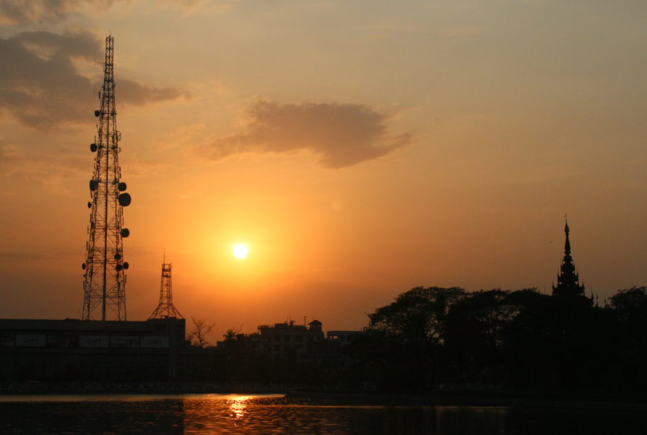 Telecommunications tower next to Mandalay's royal palace.